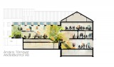 sektion genom befintligt hus och de nya personalutrymmena
